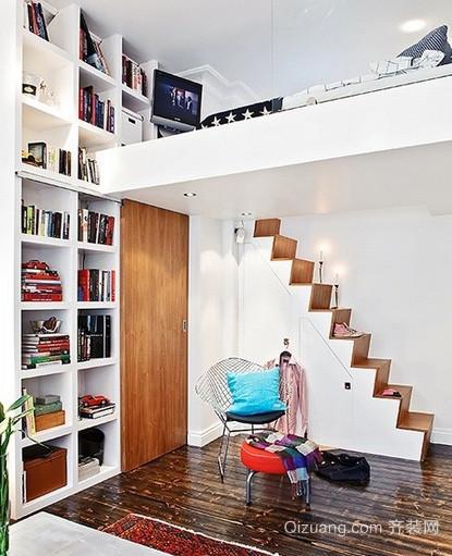 60平米一室一厅北欧风格阁楼楼梯装修效果图