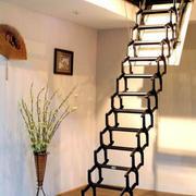 现代简约风格可伸拉式阁楼楼梯装修效果图