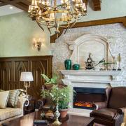 别墅客厅美式壁炉