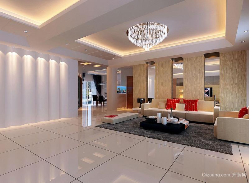精美大户型别墅客厅背景墙效果图片