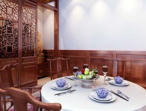 中式简约风格四合院原木餐厅装修效果图