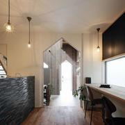 美式简约风格独栋别墅客厅吧台装修效果图