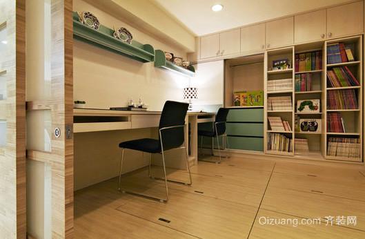 大户型深色调书房设计装修效果图