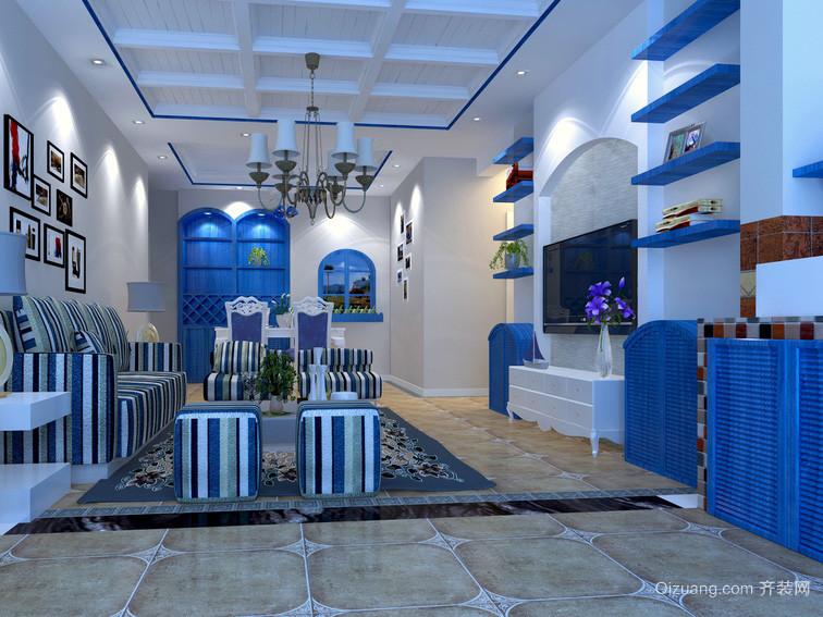 地中海单身公寓客厅背景墙效果图片