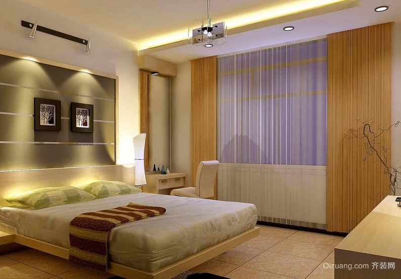128平米自然风格卧室背景墙装修效果图