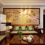 中式老年公寓客厅沙发背景墙效果图片