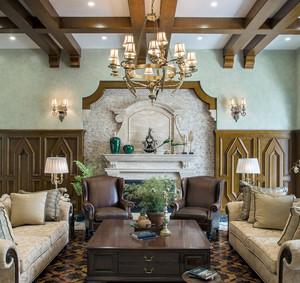 美式复古280平米别墅装潢设计效果图