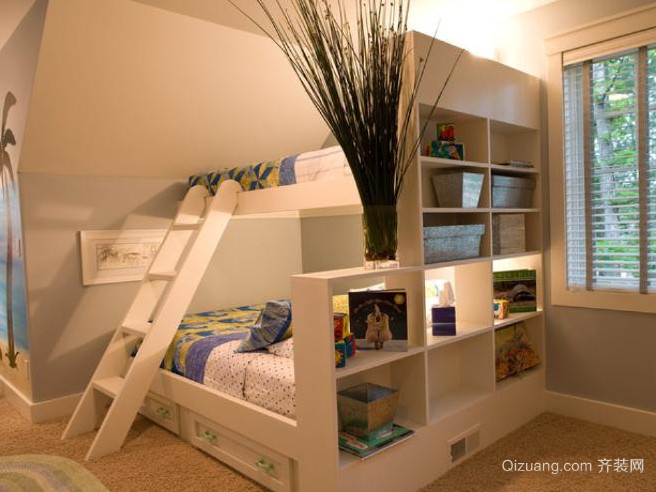 2016欧式大户型儿童房高低床装修效果图鉴赏