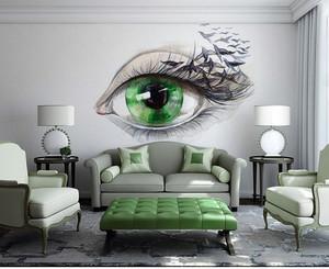 典雅浅绿色客厅室内墙绘设计效果图