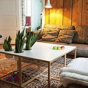 120平米loft风格公寓简约客厅茶几装修效果图