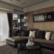 后现代风格复式楼客厅深色系茶几装修效果图