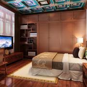 中式简约风格四合院卧室装修效果图