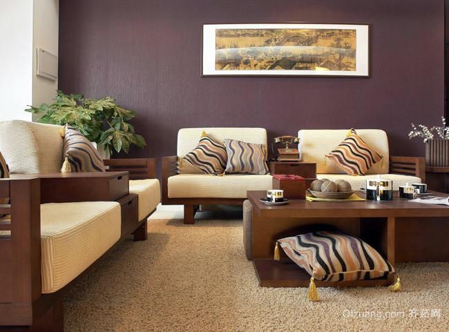 中式现代化客厅沙发背景墙装修效果图