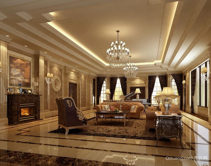 110平米大户型欧式室内装修效果图大全