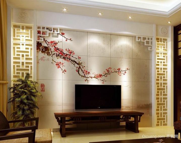 儒雅中式公寓客厅电视背景墙效果图片