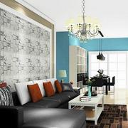 复式楼现代简约风格客厅沙发背景墙装修效果图