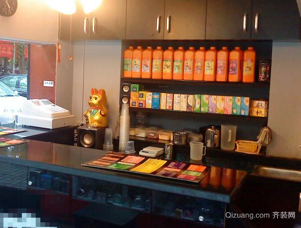 10平米街口简约风格奶茶店装修效果图