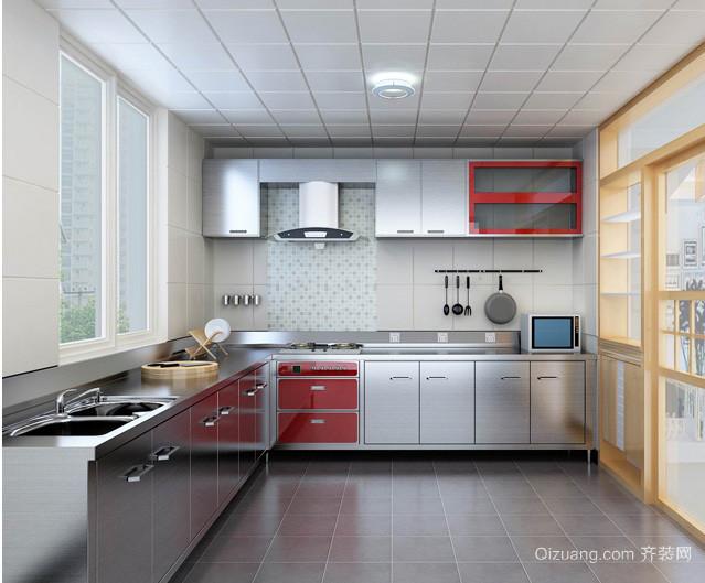 120平米三室一厅厨房不锈钢橱柜效果图