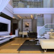 120平米大户型欧式复式楼客厅装修效果图
