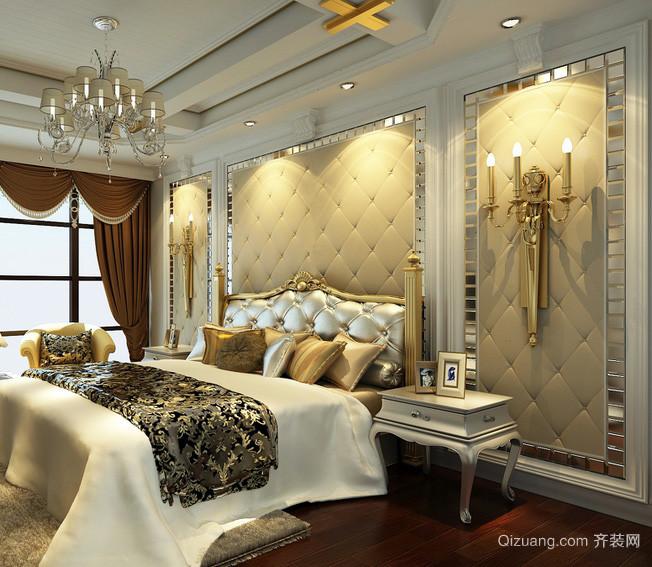 尊贵欧式别墅卧室软包背景墙装修图片