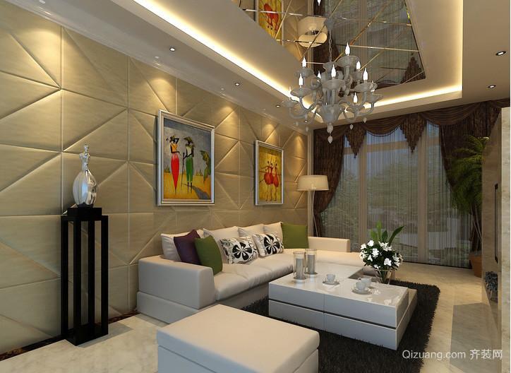 大户型复式楼客厅软包背景墙效果图片