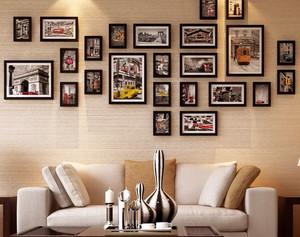 120平米都市简约风格客厅沙发照片墙装饰图