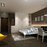 新房咖啡色卧室白色衣柜