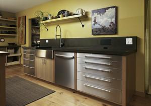 田园风格小户型厨房不锈钢橱柜效果图