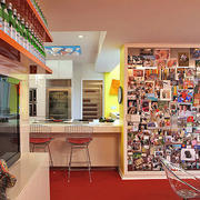 都市简约风格酒吧照片墙装修效果图