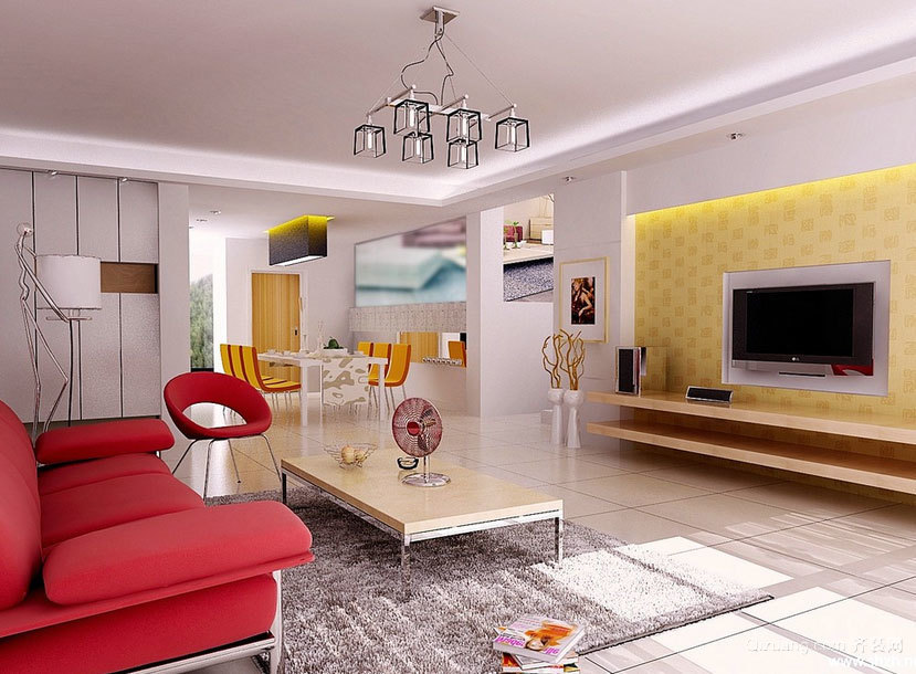 现代欧式精美的大户型客厅背景墙装修效果图