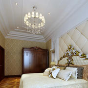 简欧式别墅卧室软包背景墙装修图片