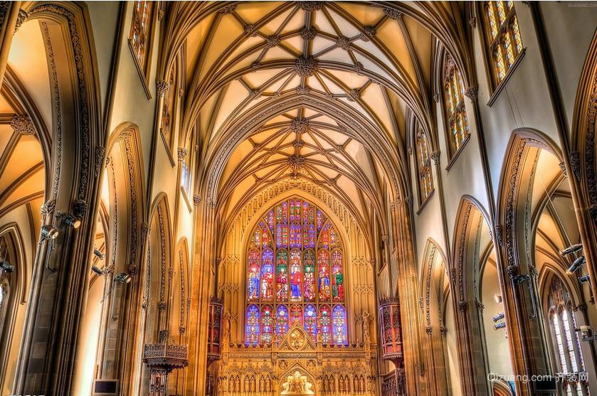 奢华欧式大型教堂彩色玻璃装修图片