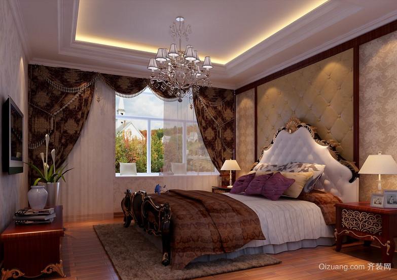 90平米欧式大户型卧室软包背景墙装修效果图