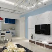 90平米大户型现代欧式电视墙背景装修效果图