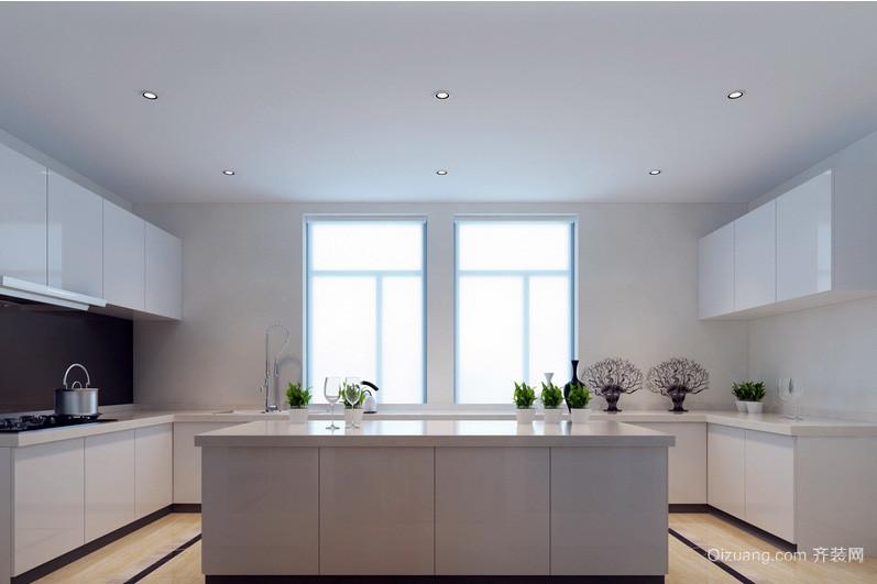 现代开放式厨房白色不锈钢橱柜效果图