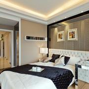 简约时尚公寓卧室软包背景墙装修图片