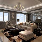 140平米深色系欧式简约风格公寓客厅装修效果图