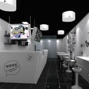 30平米后现代风格街角奶茶店装修效果图