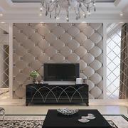 现代豪华别墅客厅软包背景墙装修图片