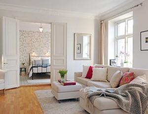 90平米韩式清新风格公寓客厅装修效果图