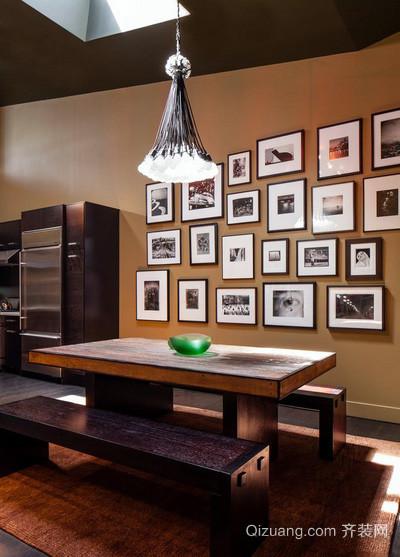 日式简约风格餐厅照片墙装修效果图