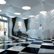 后现代风格经典黑白色商务酒店装修效果图