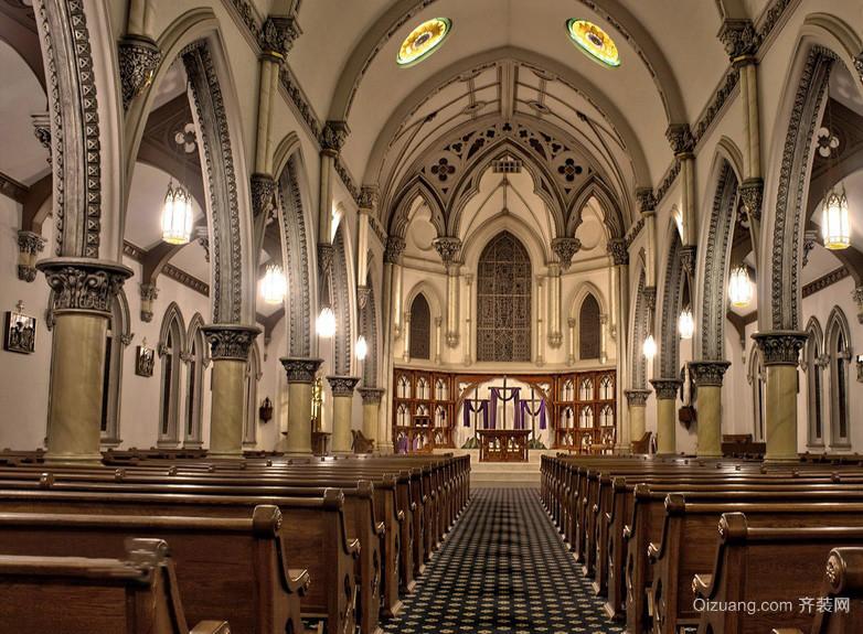古典欧式大型婚礼教堂装修效果图片