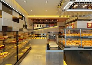 大户型蛋糕店玻璃展示柜装修设计效果图