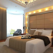 现代温馨20平米卧室软包背景墙装修图片