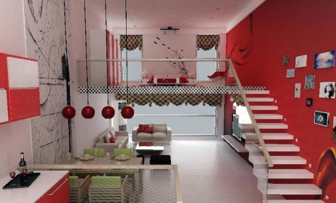 宜家风格单身公寓式住宅装修效果图