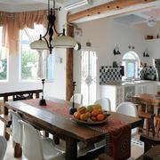 美式田园风格别墅餐厅家具装修图片