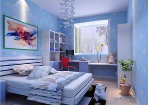 蓝色现代化18平米儿童房装修设计效果图