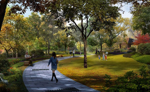 春意盎然都市大型人民公园设计效果图