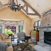 90平米美式风格木屋别墅客厅装修效果图
